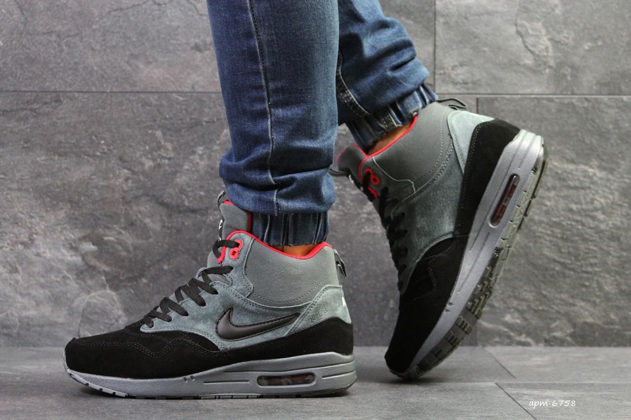 9604a969 Высокие зимние кроссовки Nike air max 87,на меху,серые с черным,замшевые