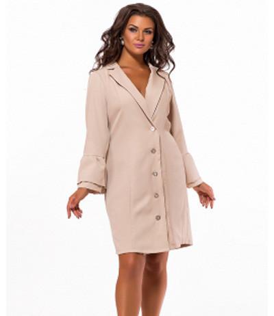 81e3b7bbbb5 Повседневное платье для полных по колено бежевый 823586 - СТИЛЬНАЯ ДЕВУШКА интернет  магазин модной женской одежды