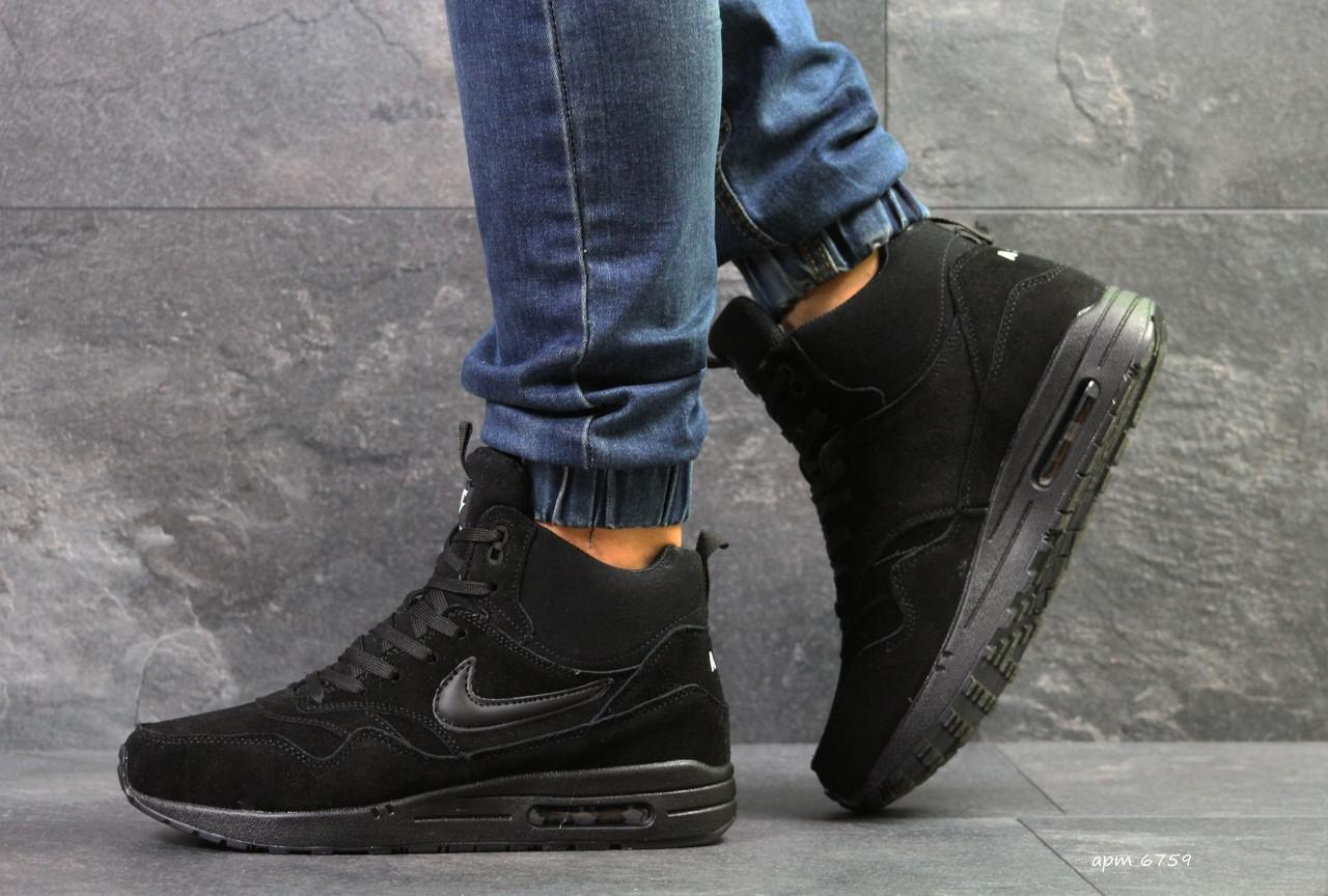 ee404497 Высокие зимние кроссовки Nike air max 87,на меху,черные,замшевые ...