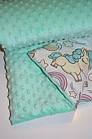 Детский плюшевый плед, в кроватку и коляску Единороги