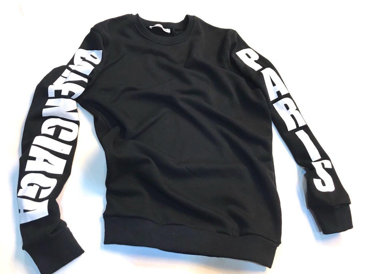 Молодежный свитшот Balenciaga черно-белого цвета топ реплика