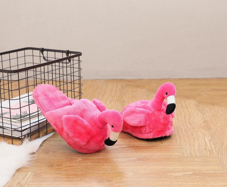 Плюшевые Тапочки Фламинго розовые (без задника)