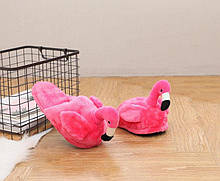 Плюшеві Тапочки рожеві Фламінго (без задника)