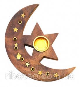 9150049 Подставка под аромапалочки деревянная Месяц + Звезда