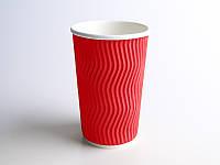 Стакан бумажный гофра волна 400мл 25шт красный