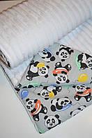 Детский плед в кроватку и коляску панды с шариком, из плюша Minky