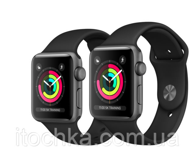 Apple Watch Series 3 38mm Space Gray Aluminum Case with Black Sport Band (MTF02)