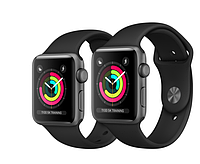 Apple Watch Series 3 38mm GPS Space Gray Aluminum Case with Black Sport Band (MTF02)