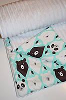 Детский плед в кроватку и коляску панды на бирюзовом, из плюша Minky