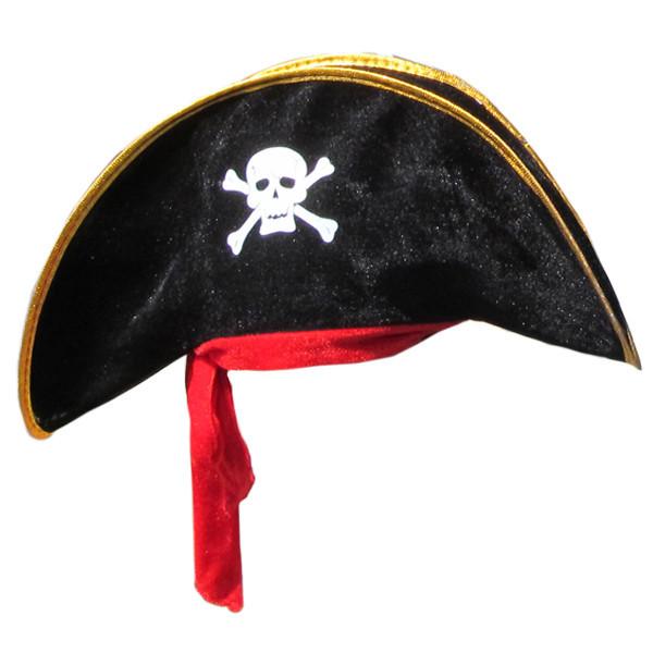 Шляпа Корсара, Пирата, Пиратки, велюр (черная)
