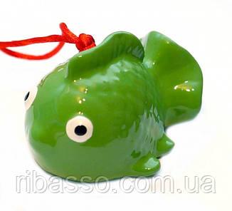9320043 Рыбка - керамический колокольчик ЗЕЛЁНАЯ