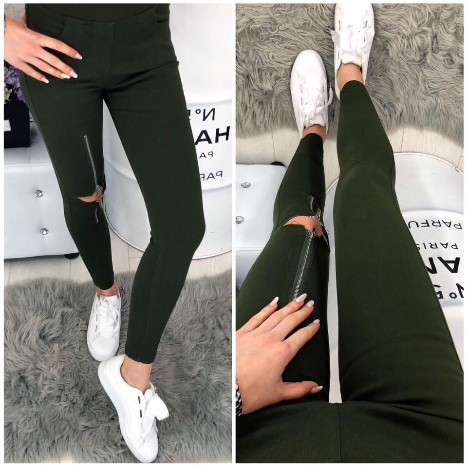 Стрейчевые джинсы с молнией на колене