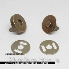 Кнопки магнитные (14мм) антик, 20шт 5002