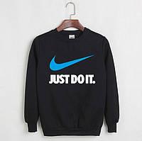 Теплий світшот чоловічий з принтом Nike Just Do It Найк Кофта чорна (РЕПЛІКА)