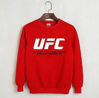 Утеплений світшот чоловічий з принтом UFC ЮФС Кофта червона (РЕПЛІКА)