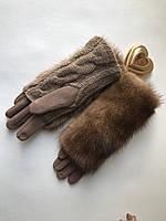 Перчатки с натуральным мехом норка!, фото 1