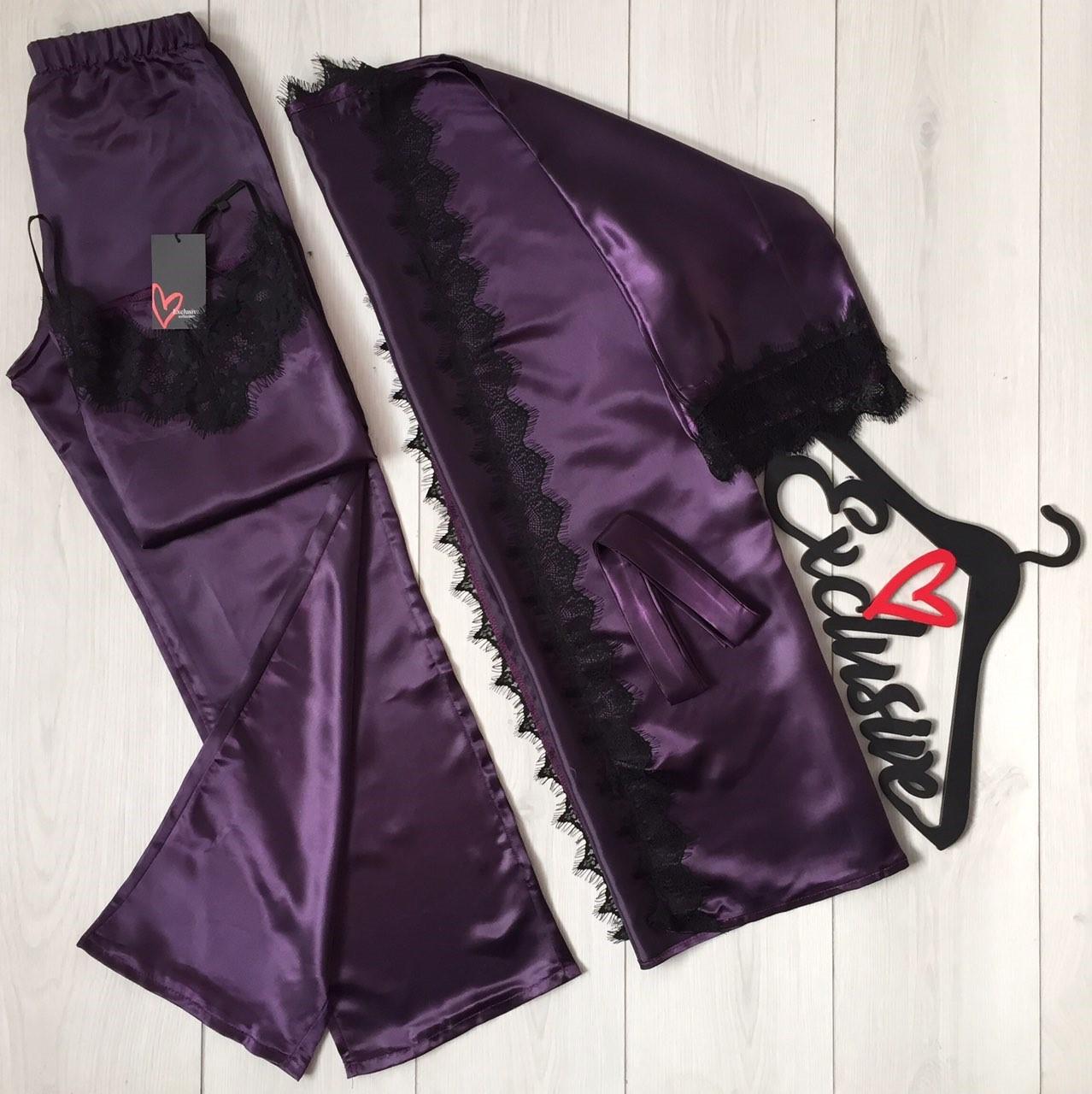 Баклажановый атласный комплект для дома и снаТМExclusive: халат + майка со штанами
