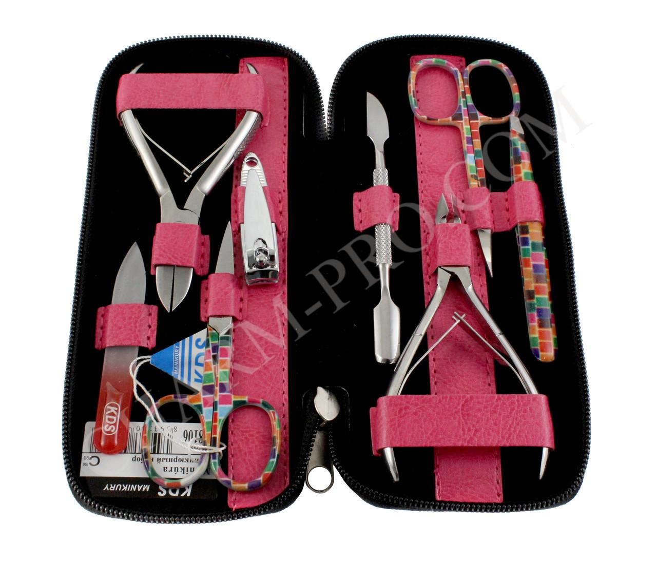 Маникюрный набор инструментов KDS 04-8106 (розовый)