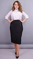 Нинель. Офисная юбка больших размеров. черный, фото 1