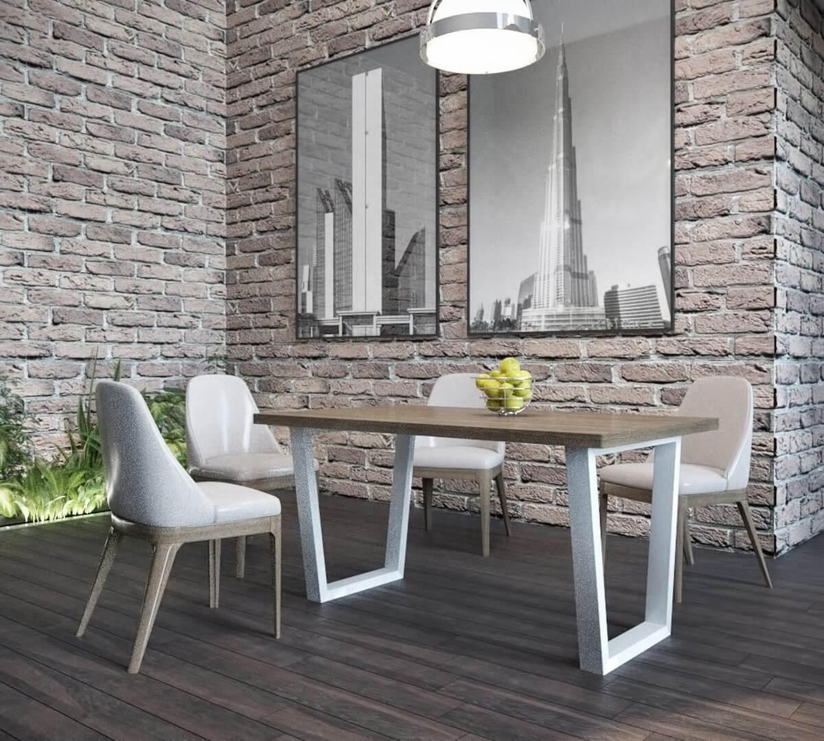 Стильний і сучасний обідній стіл метал+дерево в стилі loft Бінго Метал-Дизайн 1,2 м.