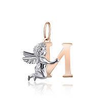 Серебряная подвеска с позолотой ангел с буквой И