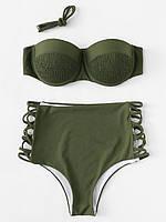 Модный женский раздельный купальник с высокой талией цвета хаки
