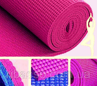 9290143 Коврик для Йоги 6мм. Тёмно розовый