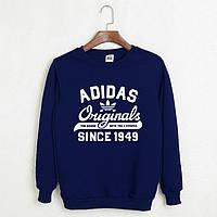 На флисе свитшот мужской с принтом Adidas Originals 1949 Адидас Кофта темно-синяя (РЕПЛИКА)