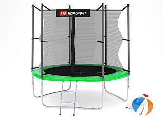 Батут Hop-Sport 8ft (244cm) green з внутрішньої сіткою для будинку і спортзалу