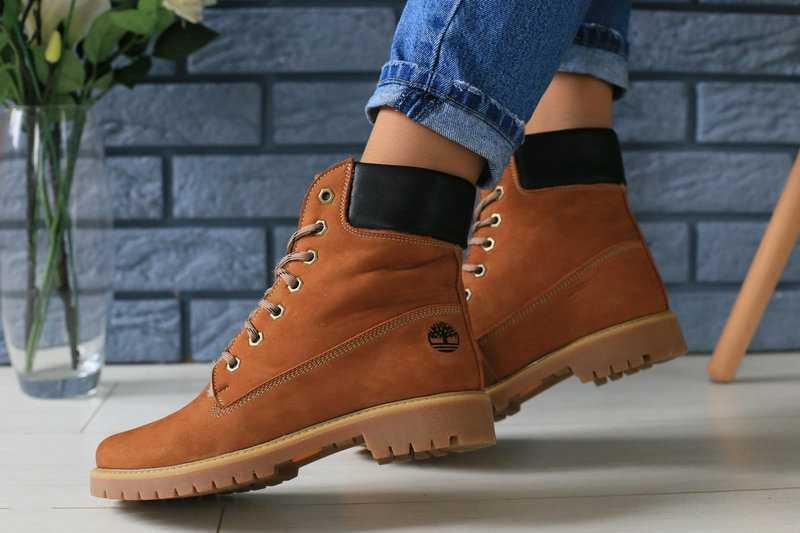 Жіночі черевики Timberland молодіжні стильні тімберленди шкіра нубук (руді), ТОП-репліка