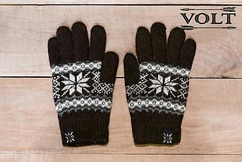 Рукавицы зимние VOLT brwn. Перчатки с рисунком. Варежки