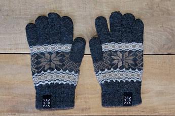 Рукавицы зимние VOLT grey. Перчатки с рисунком. Варежки