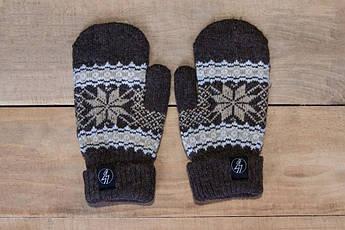 Рукавицы зимние VOLT brown. Перчатки с рисунком. Варежки