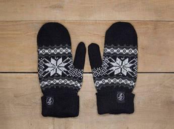 Рукавицы зимние VOLT чорные. Перчатки с рисунком. Варежки