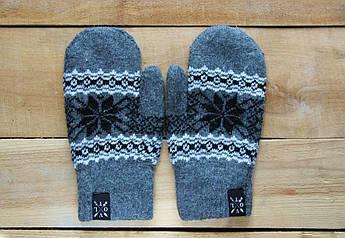 Рукавицы зимние VOLT d.grey. Перчатки с рисунком. Варежки