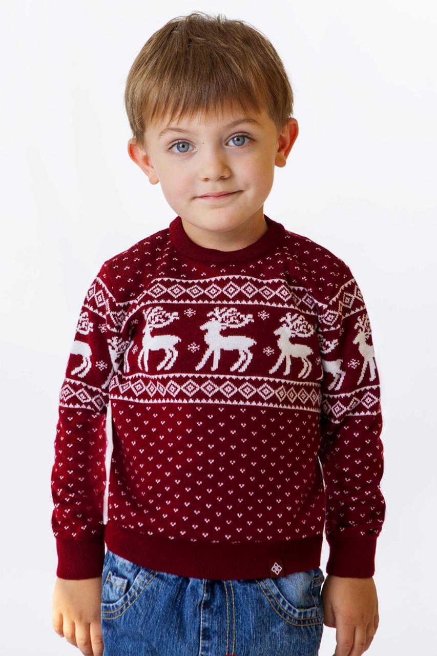 """Детский новогодний вязанный свитер """"Рождественский"""""""
