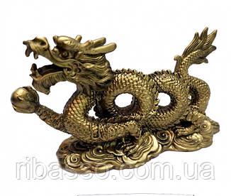 9260038 Дракон с жемчужиной два кольца под бронзу