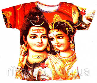 9040061 Футболка женская короткий рукав цветная Шива с Парвати
