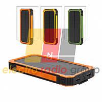 Power bank 5000 mAh Solar, (5V/200mA), 2xUSB, 5V/1A/1A, USB  microUSB, влаго/ударо защищеный прор