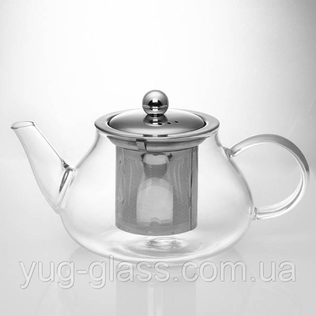 Чайник заварочный стеклянный 600 с ситечком.