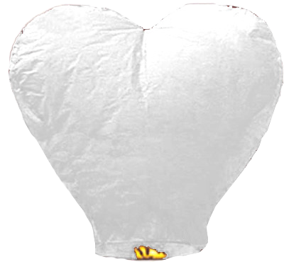 Китайский летающий фонарик сердце белое 110 см