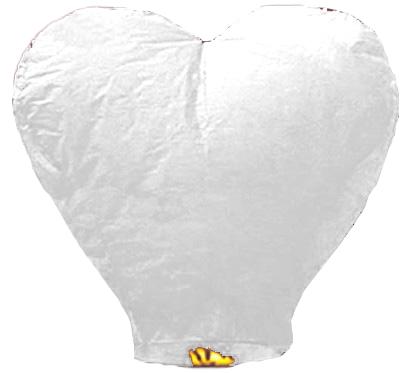 Китайский летающий фонарик сердце белое 110 см, фото 2
