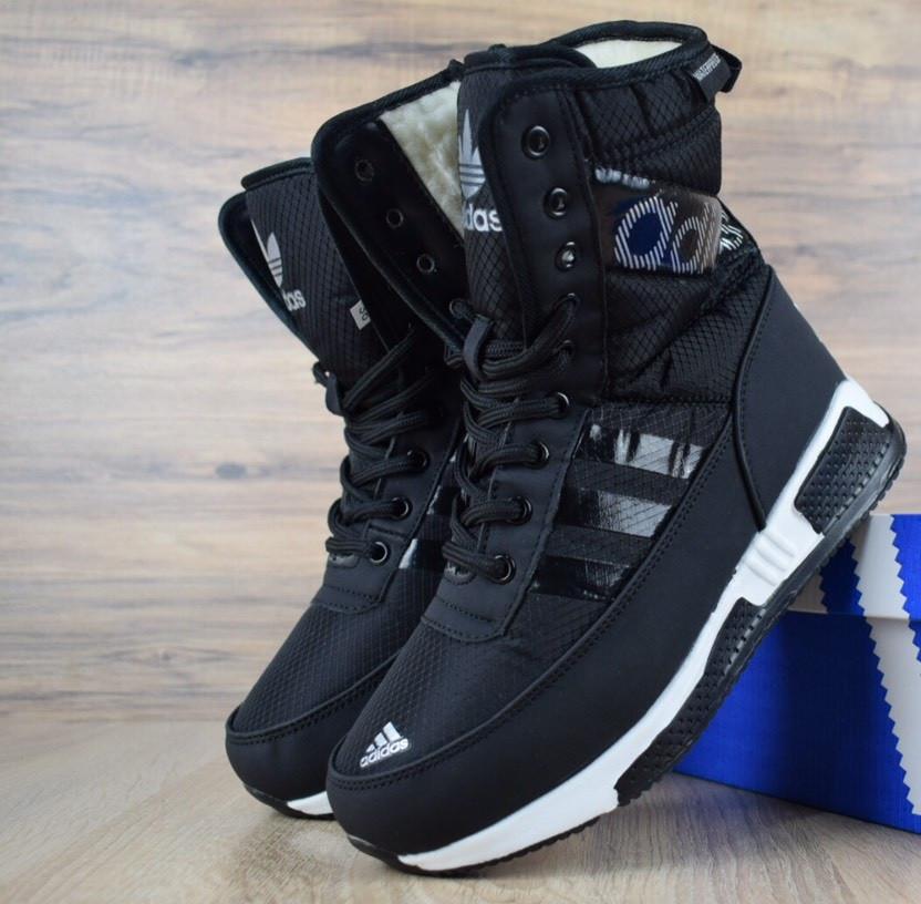 Зимові жіночі чоботи Adidas чорні. Живе фото (Репліка ААА+)