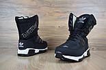 Зимові жіночі чоботи Adidas чорні. Живе фото (Репліка ААА+), фото 2
