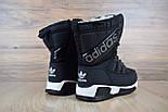Зимові жіночі чоботи Adidas чорні. Живе фото (Репліка ААА+), фото 4