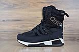 Зимові жіночі чоботи Adidas чорні. Живе фото (Репліка ААА+), фото 6