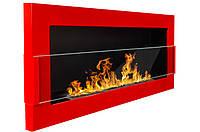 Настенный биокамин 900x400 Красный с стеклом