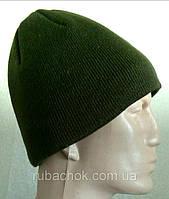№9 - Зимняя вязаная шапка зеленая прямая.