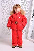 Комплект детский для девочки Монклер красний зима комбинезон+куртка 92-98, 98-104, 104-110, 110-116см енот