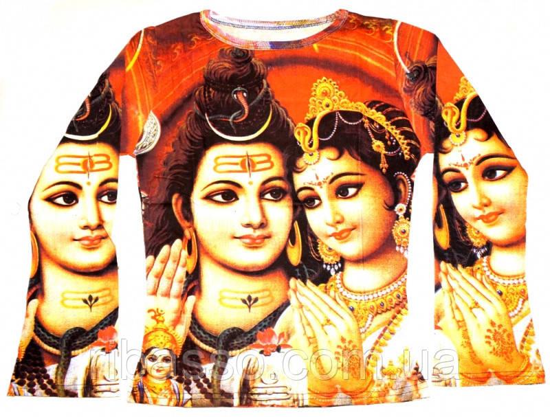 9040065 Футболка женская длинный рукав цветная Шива с Парвати